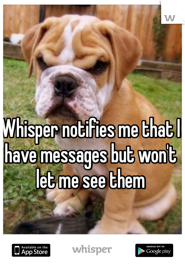 Whisper notifies me that I have messages but won't let me see them