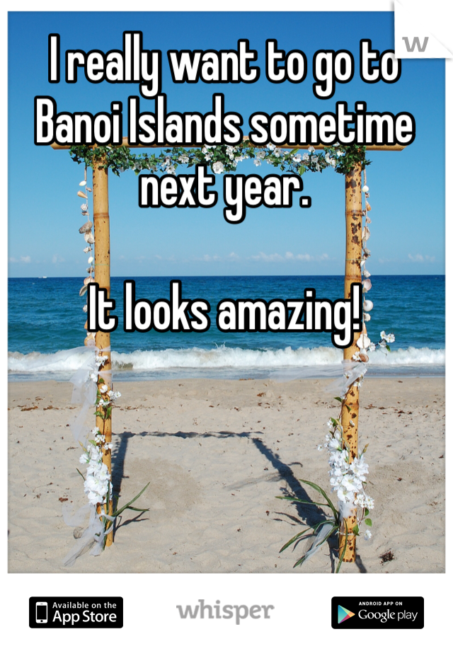 I really want to go to Banoi Islands sometime next year.  It looks amazing!