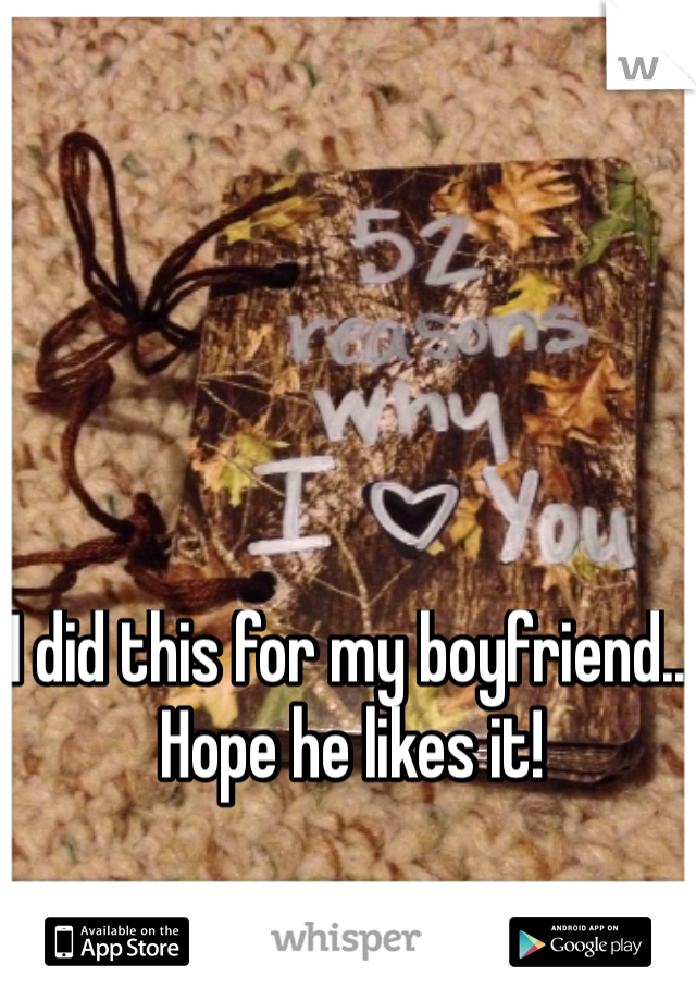 I did this for my boyfriend.. Hope he likes it!