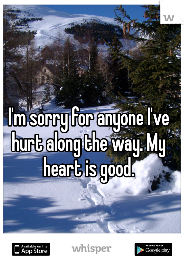 I'm sorry for anyone I've hurt along the way. My heart is good.