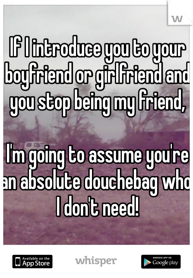 If I introduce you to your boyfriend or girlfriend and you stop being my friend,  I'm going to assume you're an absolute douchebag who I don't need!