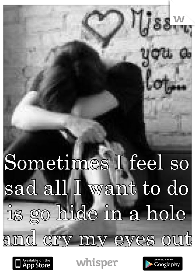 Sometimes I feel so sad all I want to do is go hide in a hole and cry my eyes out