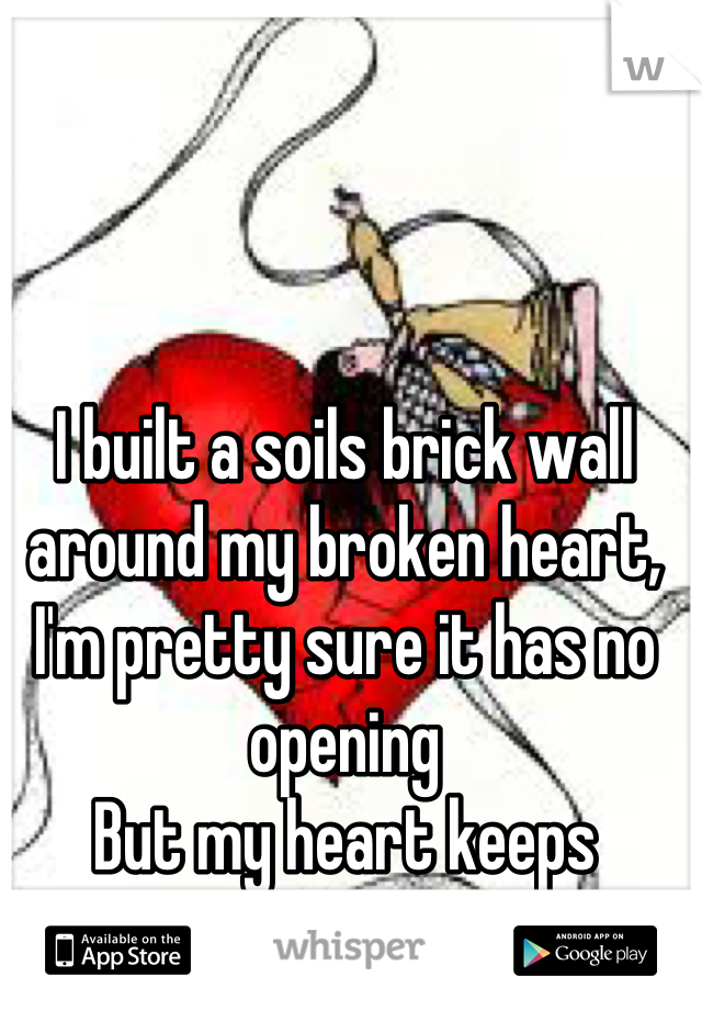 I built a soils brick wall around my broken heart,  I'm pretty sure it has no opening  But my heart keeps breaking.