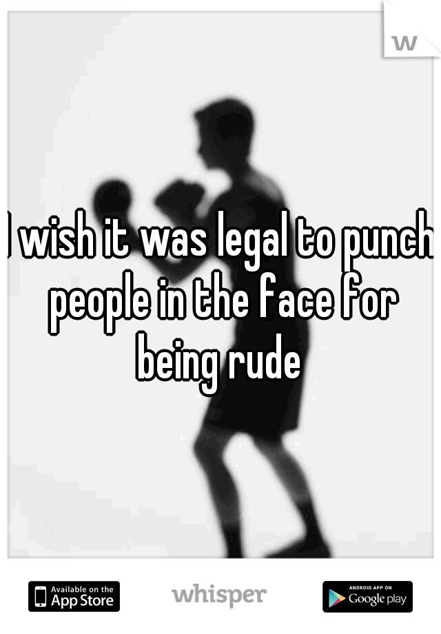I wish it was legal to punch people in the face for being rude