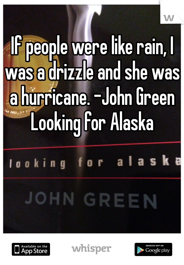 If people were like rain, I was a drizzle and she was a hurricane. -John Green Looking for Alaska