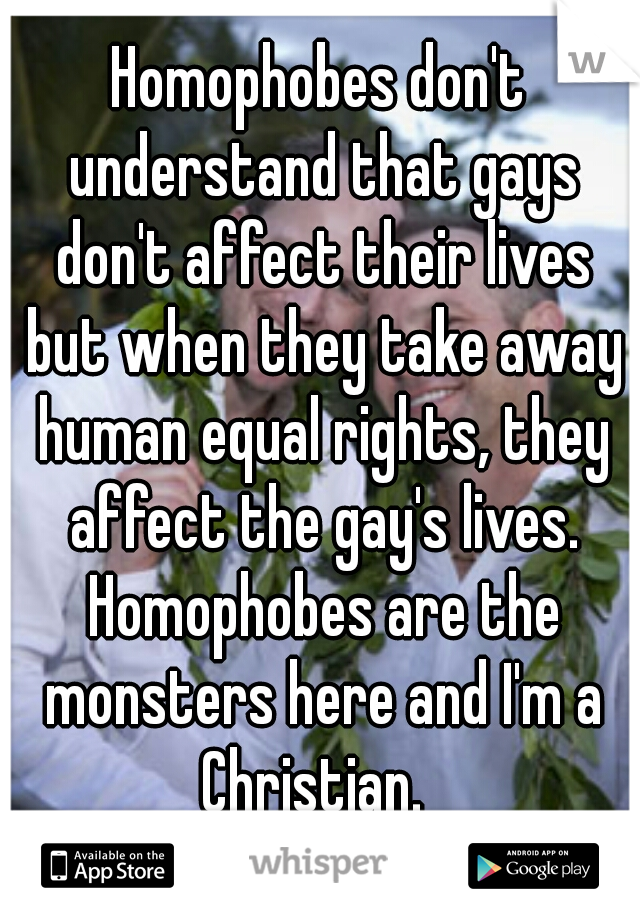 Homophobes don't understand that gays don't affect their lives but when they take away human equal rights, they affect the gay's lives. Homophobes are the monsters here and I'm a Christian.