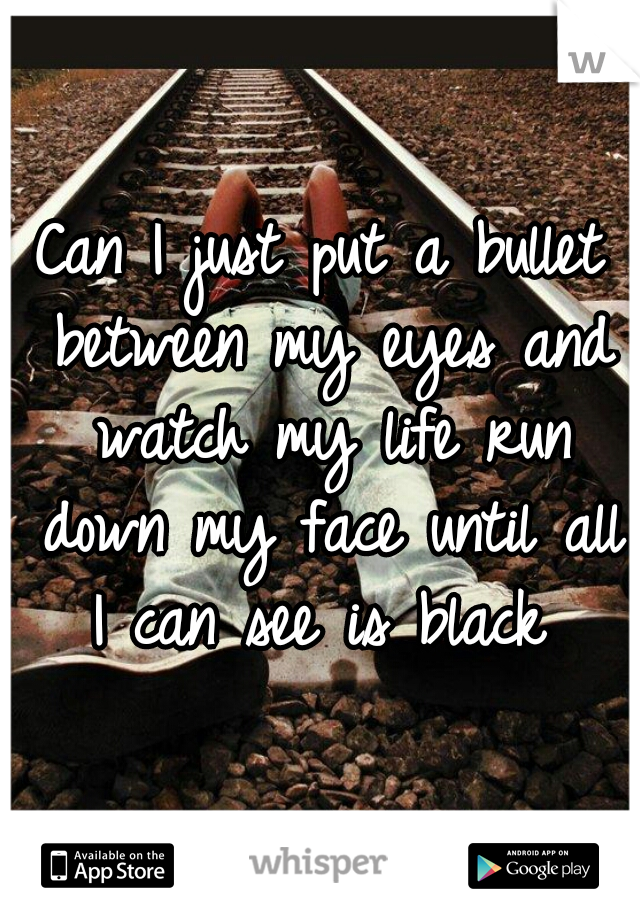 Can I just put a bullet between my eyes and watch my life run down my face until all I can see is black
