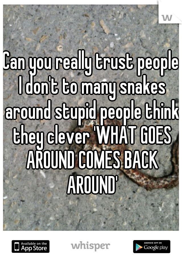 Can you really trust people I don't to many snakes around stupid people think they clever 'WHAT GOES AROUND COMES BACK AROUND'