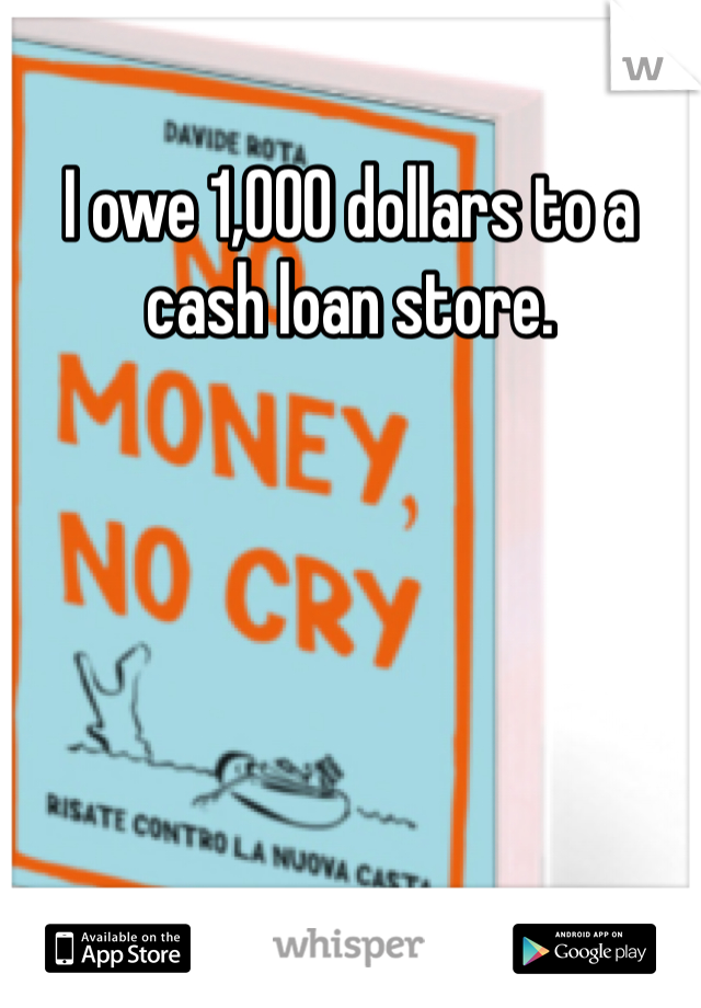 I owe 1,000 dollars to a cash loan store.