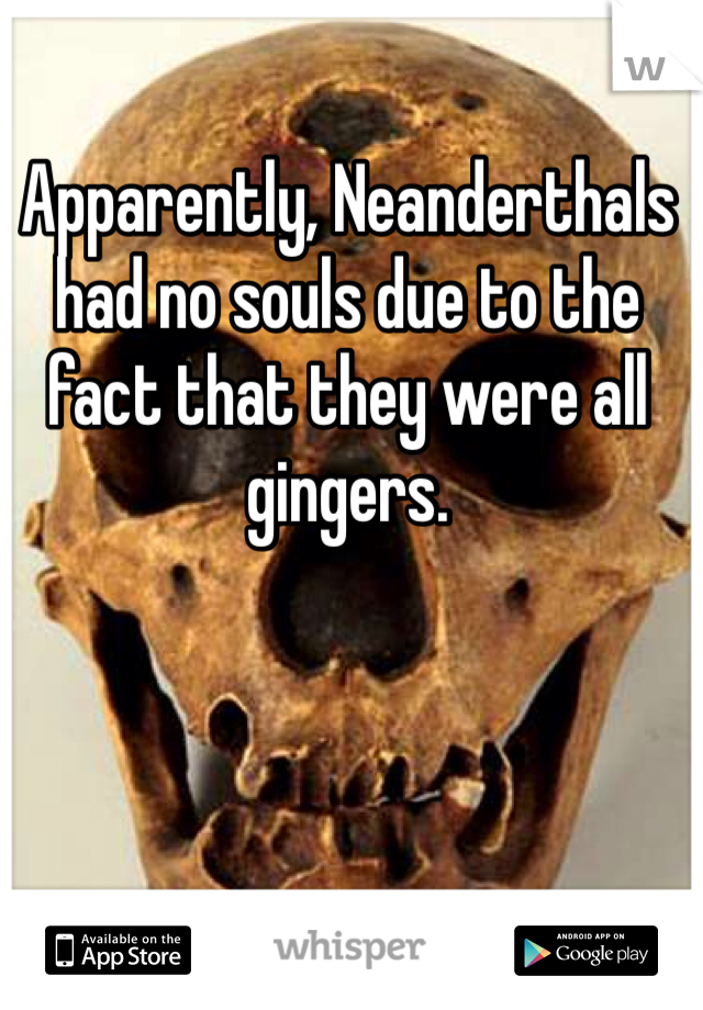 Apparently, Neanderthals had no souls due to the fact that they were all gingers.