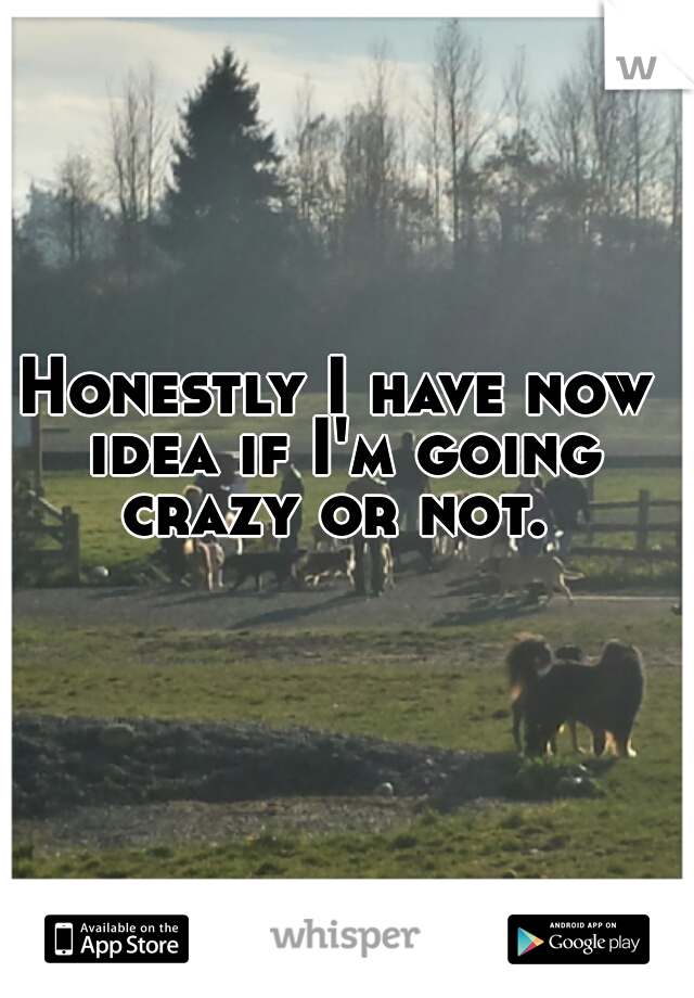 Honestly I have now idea if I'm going crazy or not.
