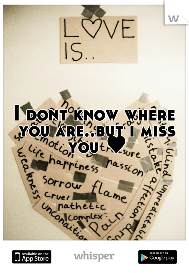 I dont know where you are..but i miss you ♥