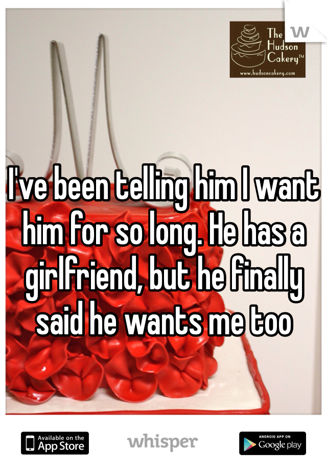 I've been telling him I want him for so long. He has a girlfriend, but he finally said he wants me too