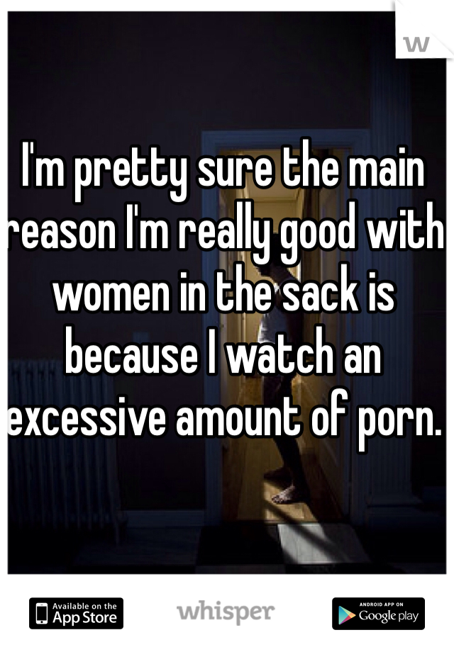 I'm pretty sure the main reason I'm really good with women in the sack is because I watch an excessive amount of porn.
