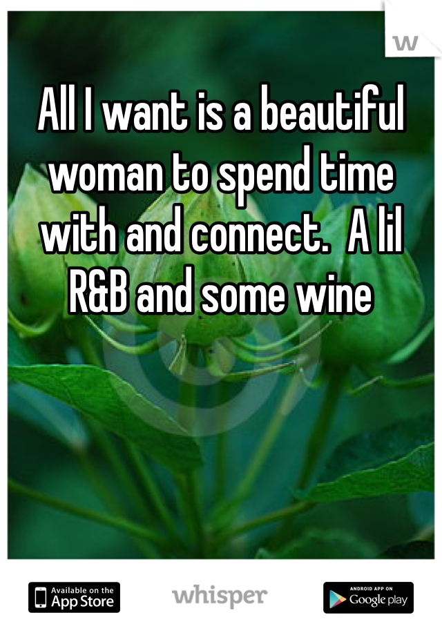 All I want is a beautiful woman to spend time with and connect.  A lil R&B and some wine