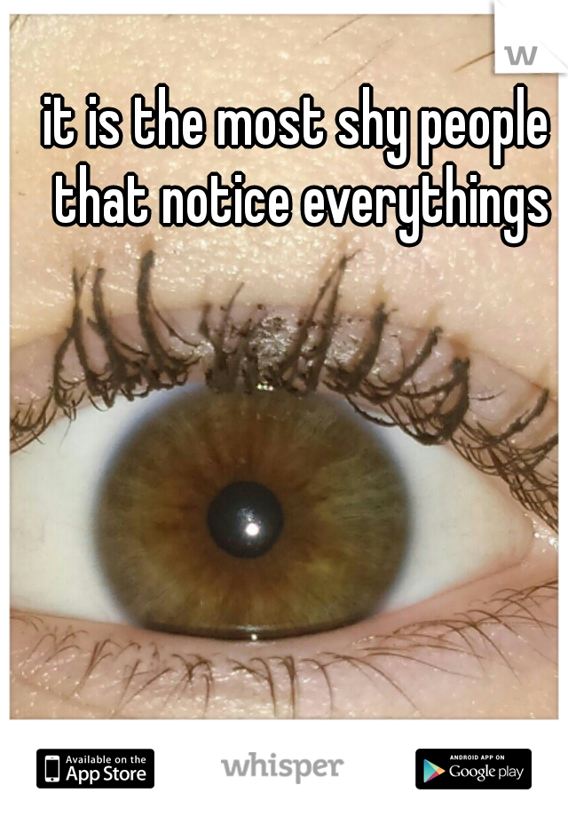 it is the most shy people that notice everythings