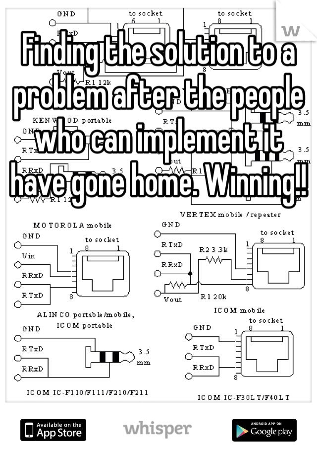 Finding the solution to a problem after the people who can implement it have gone home. Winning!!
