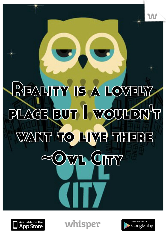 Reality is a lovely place but I wouldn't want to live there  ~Owl City