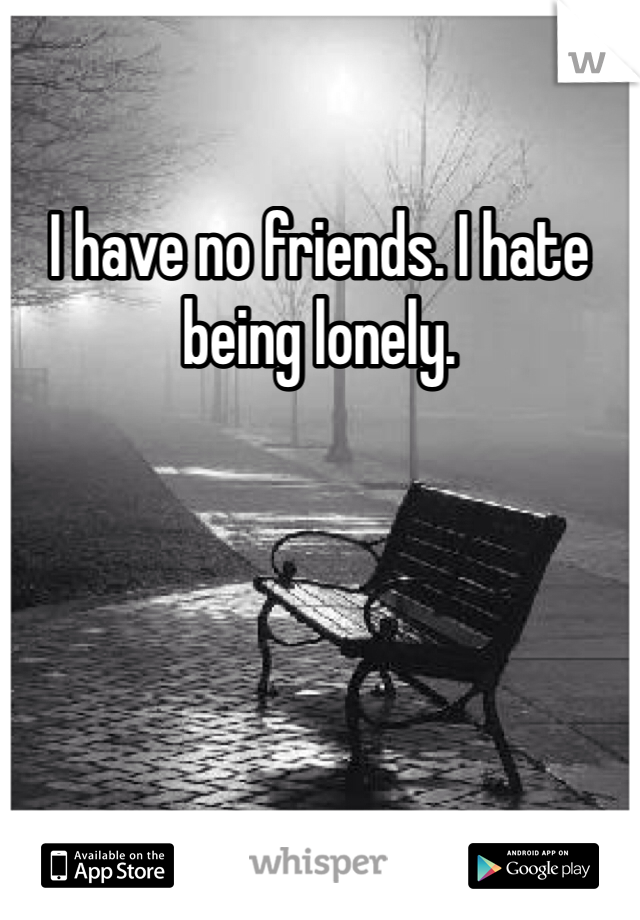 I have no friends. I hate being lonely.