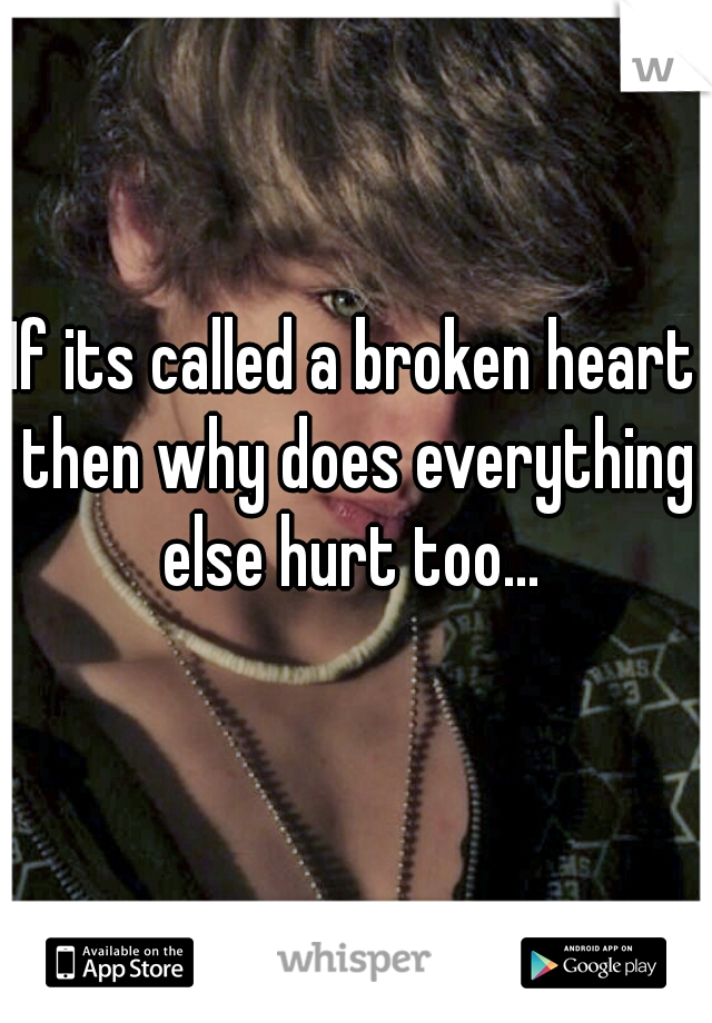 If its called a broken heart then why does everything else hurt too...