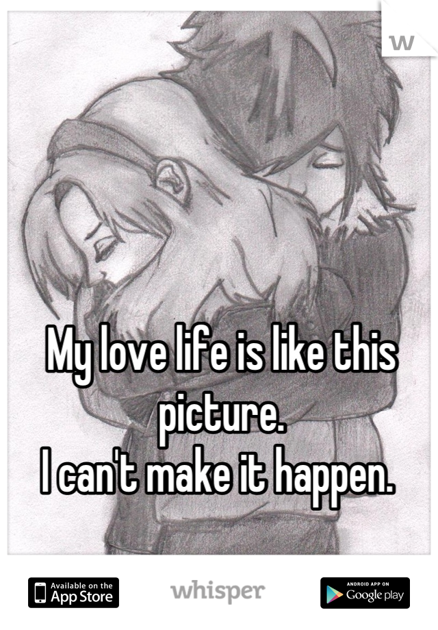 My love life is like this picture. I can't make it happen.