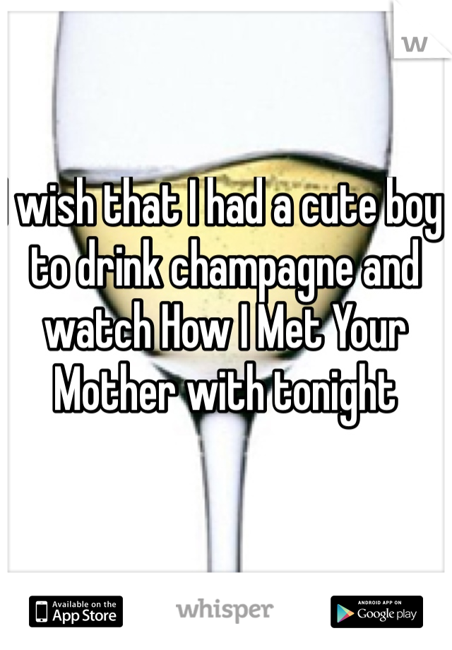 I wish that I had a cute boy to drink champagne and watch How I Met Your Mother with tonight