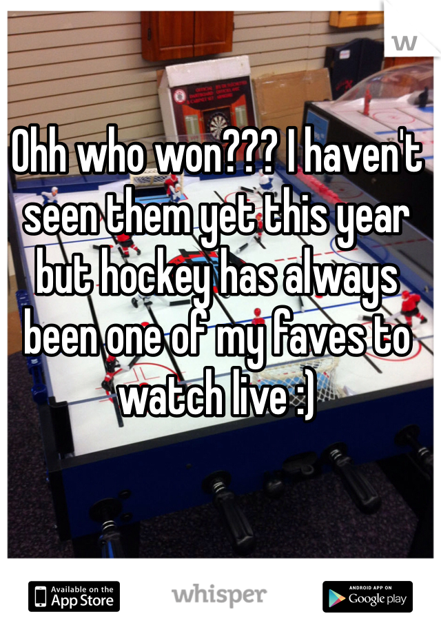Ohh who won??? I haven't seen them yet this year but hockey has always been one of my faves to watch live :)