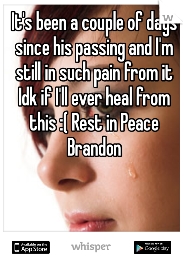 It's been a couple of days since his passing and I'm still in such pain from it Idk if I'll ever heal from this :( Rest in Peace Brandon