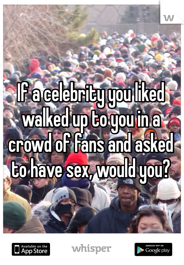 If a celebrity you liked walked up to you in a crowd of fans and asked to have sex, would you?