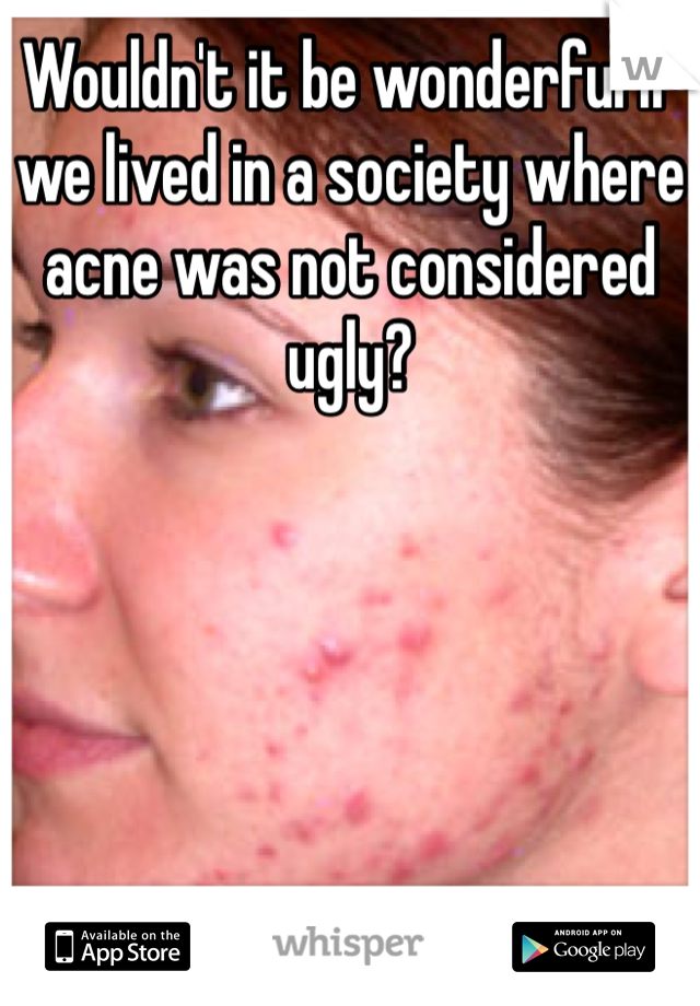 Wouldn't it be wonderful if we lived in a society where acne was not considered ugly?