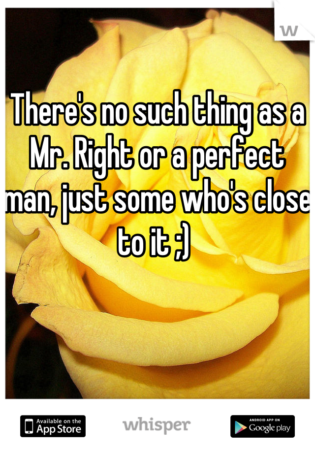 There's no such thing as a Mr. Right or a perfect man, just some who's close to it ;)