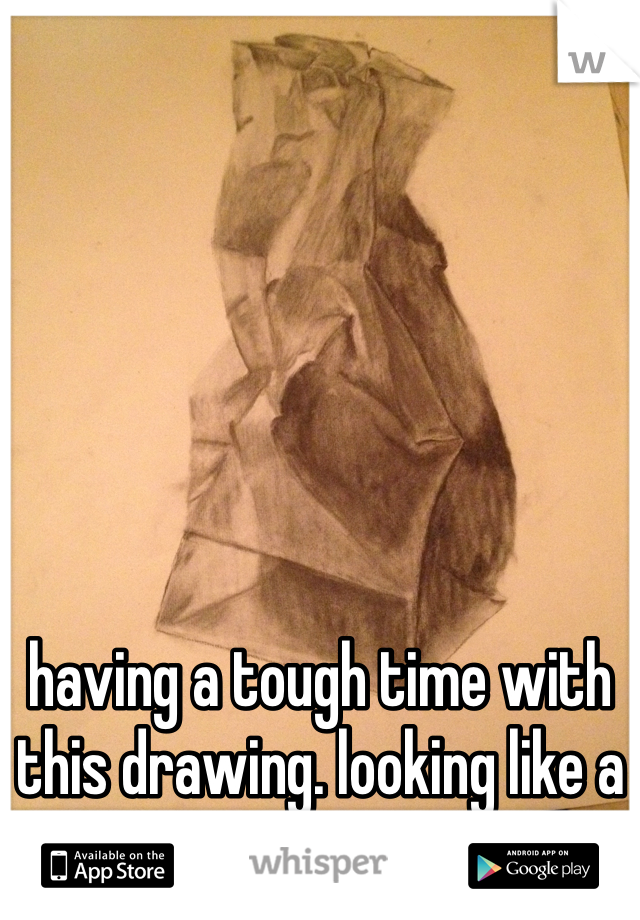 having a tough time with this drawing. looking like a paper bag to you?