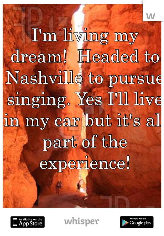 I'm living my dream!  Headed to Nashville to pursue singing. Yes I'll live in my car but it's all part of the experience!