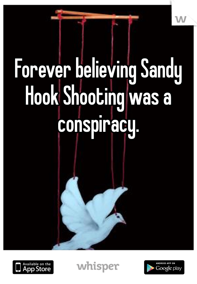Forever believing Sandy Hook Shooting was a conspiracy.
