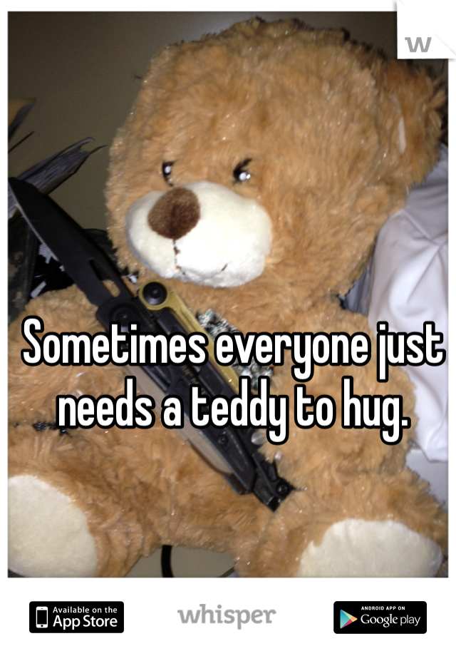 Sometimes everyone just needs a teddy to hug.