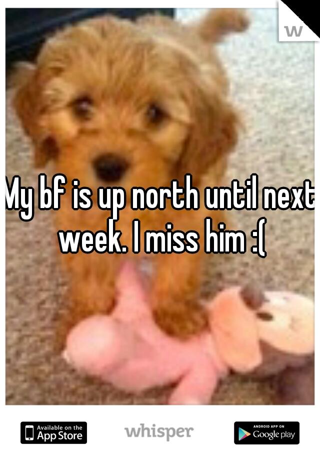 My bf is up north until next week. I miss him :(