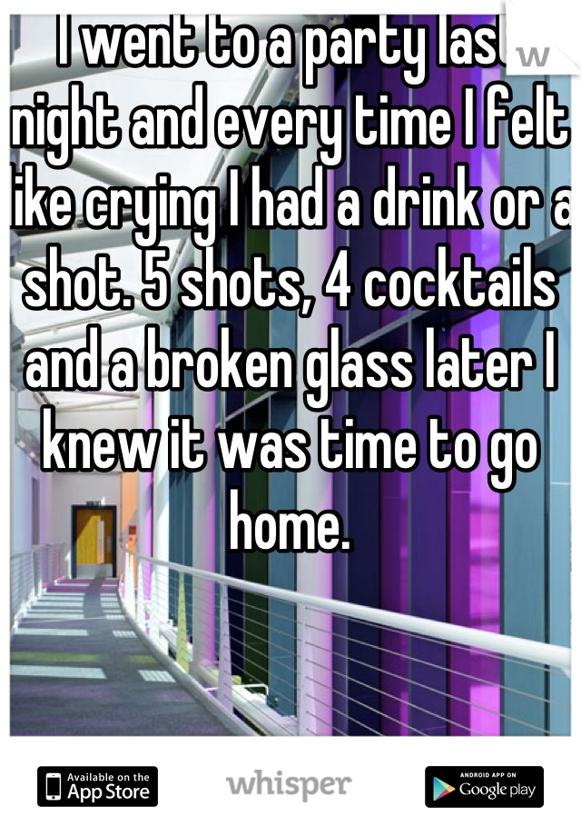 I went to a party last night and every time I felt like crying I had a drink or a shot. 5 shots, 4 cocktails and a broken glass later I knew it was time to go home.