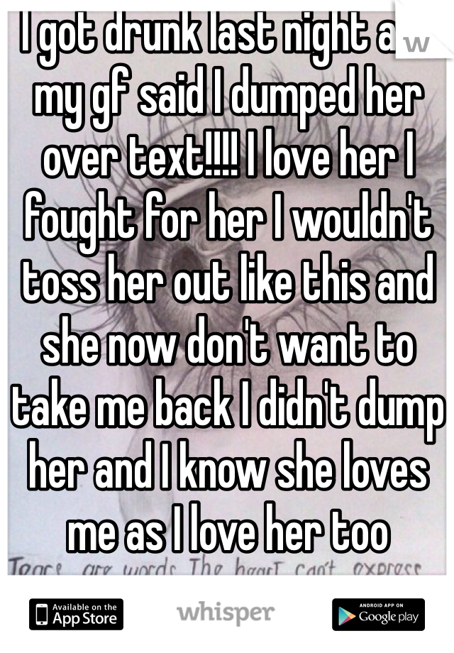 I got drunk last night and my gf said I dumped her over text!!!! I love her I fought for her I wouldn't toss her out like this and she now don't want to take me back I didn't dump her and I know she loves me as I love her too