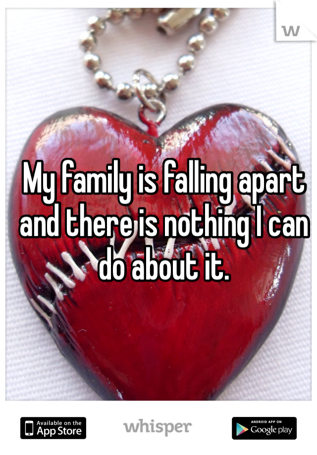 My family is falling apart and there is nothing I can do about it.