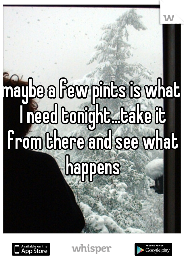 maybe a few pints is what I need tonight...take it from there and see what happens