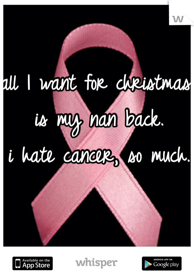 all I want for christmas is my nan back.  i hate cancer, so much.