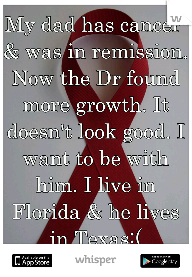 My dad has cancer & was in remission. Now the Dr found more growth. It doesn't look good. I want to be with him. I live in Florida & he lives in Texas:(