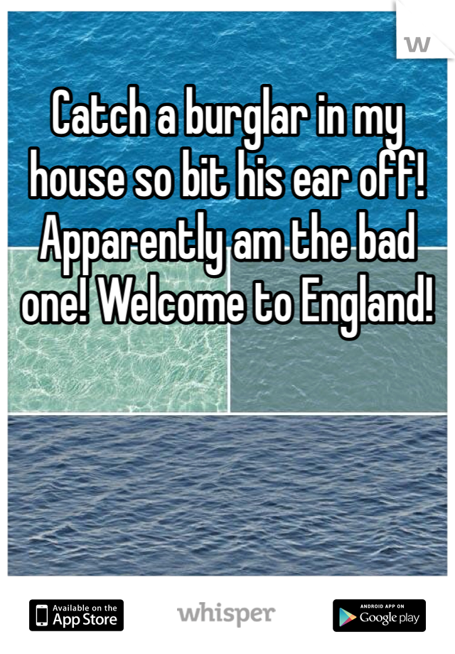 Catch a burglar in my house so bit his ear off! Apparently am the bad one! Welcome to England!