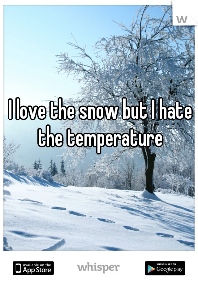 I love the snow but I hate the temperature