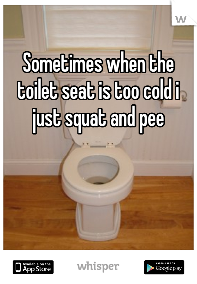 Sometimes when the toilet seat is too cold i just squat and pee