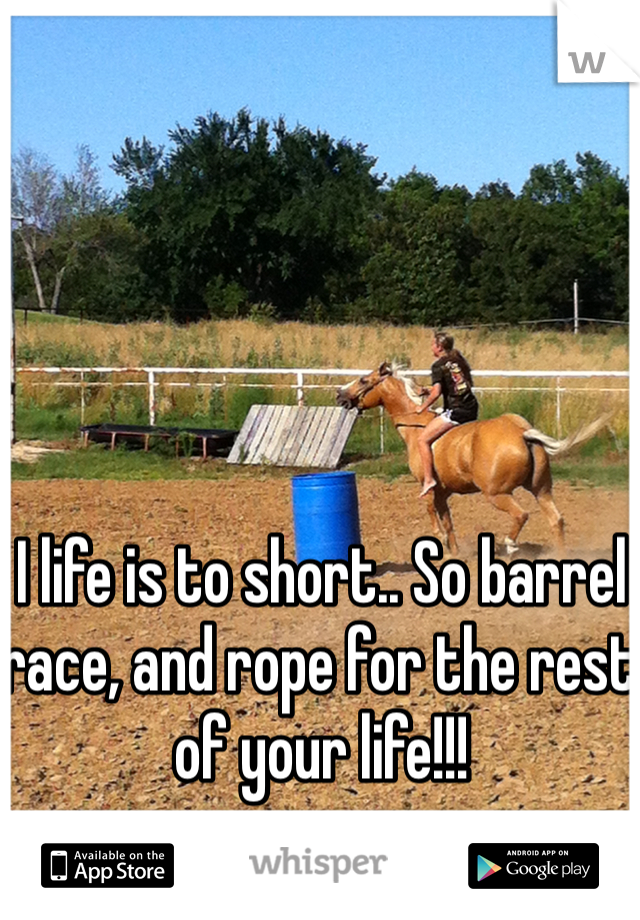 I life is to short.. So barrel race, and rope for the rest of your life!!!