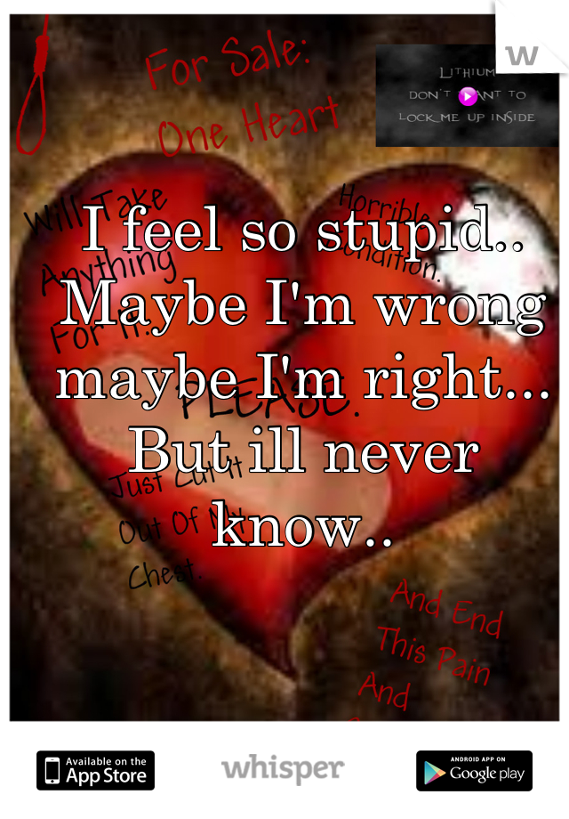 I feel so stupid.. Maybe I'm wrong maybe I'm right... But ill never know..