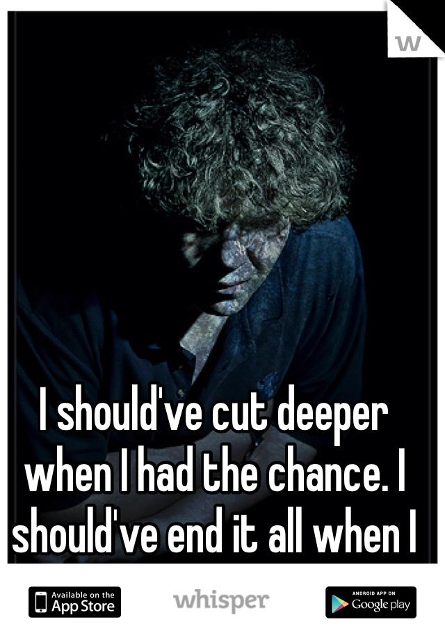 I should've cut deeper when I had the chance. I should've end it all when I had the guts.