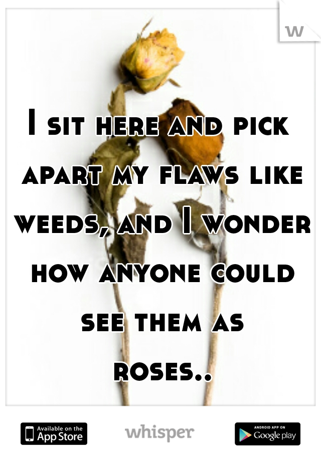 I sit here and pick apart my flaws like weeds, and I wonder how anyone could see them as roses....