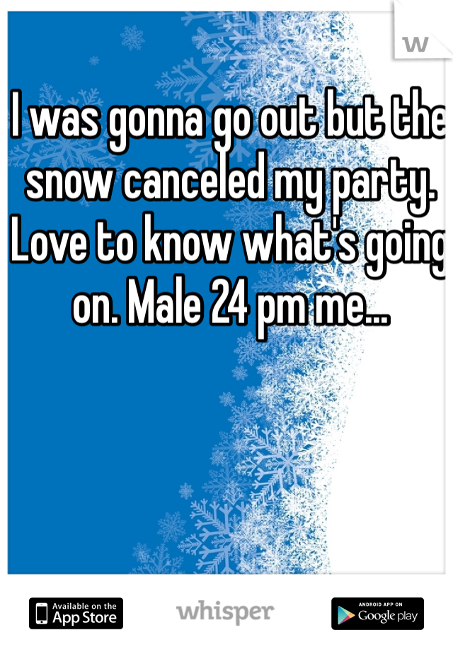 I was gonna go out but the snow canceled my party. Love to know what's going on. Male 24 pm me...